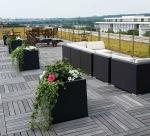 Rooftop terrace with a view of the Kennedy Center.