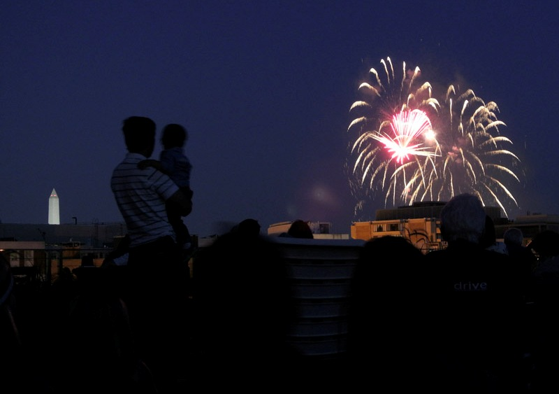 Residents Enjoy A Front Row Seat For The Fourth Of July Fireworks.