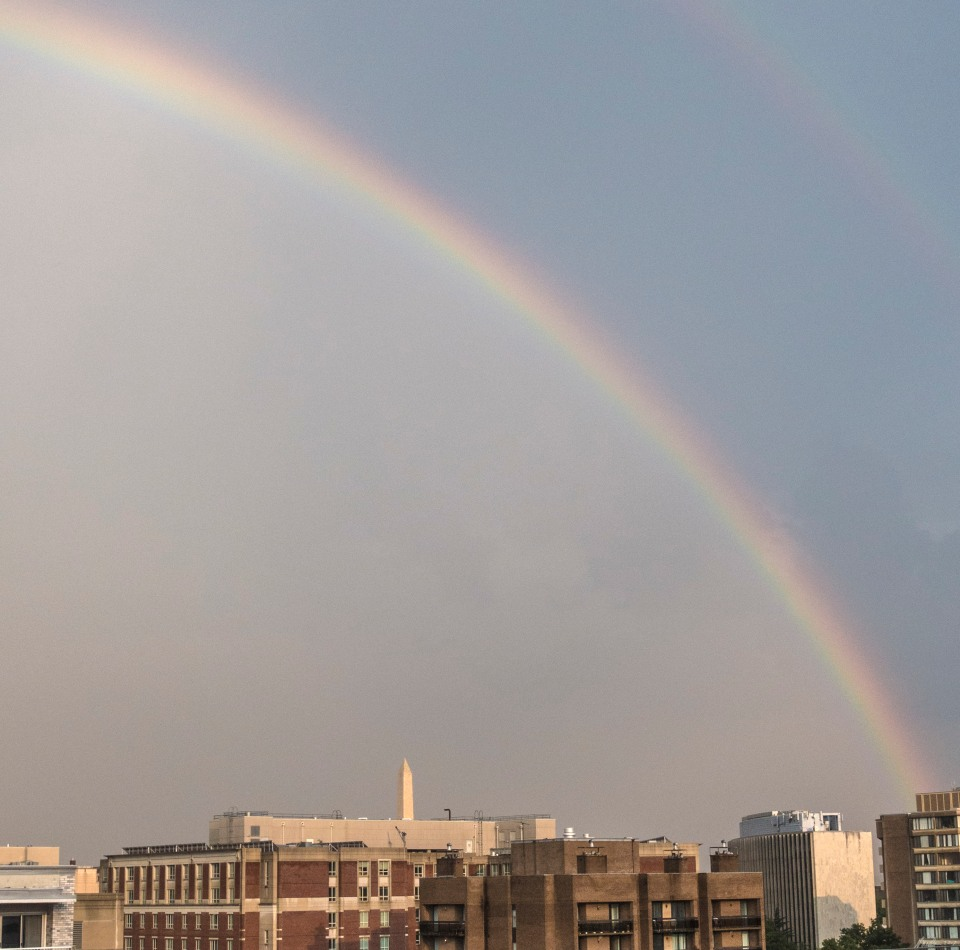 Rainbow seen from the PPAC roof terrace.